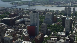 AX82_014 - 5K stock footage aerial video of the St James near Independence National Historic Park and Customs House, Downtown Philadelphia, Pennsylvania