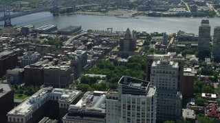 AX82_015 - 5K stock footage aerial video of United States Customs House and Independence National Historical Park, Philadelphia, Pennsylvania