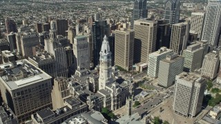 AX82_016 - 5K stock footage aerial video of Philadelphia City Hall in Downtown Philadelphia, Pennsylvania