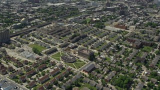 AX82_024 - 5K stock footage aerial video of apartment buildings and urban homes in North Philadelphia, Pennsylvania