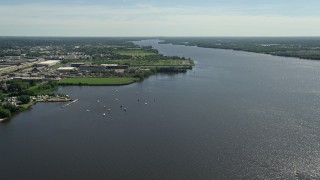 AX82_034 - 5K stock footage aerial video of boats in the Delaware River, Philadelphia, Pennsylvania
