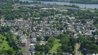 AX82_048 - 5K stock footage aerial video of small town neighborhoods around St Ann's Rectory in Bristol, Pennsylvania