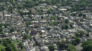 AX82_048E - 5K stock footage aerial video of small town neighborhoods around St Ann's Rectory in Bristol, Pennsylvania