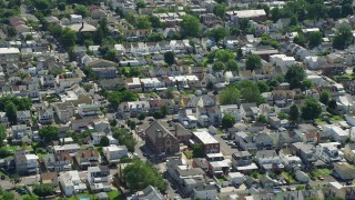 AX82_049 - 5K stock footage aerial video of row houses and homes in Bristol, Pennsylvania