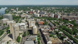 AX82_062 - 5K stock footage aerial video of government and office buildings around Mill Hill Park in Trenton, New Jersey