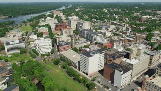 AX82_063 - 5K stock footage aerial video of government and office buildings in Trenton, New Jersey