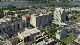 AX82_064 - 5K stock footage aerial video of Mary G. Roebling Building and One State Street Square, Trenton, New Jersey