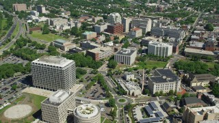 AX82_072 - 5K stock footage aerial video flying over government buildings to approach the New Jersey State House in Trenton, New Jersey