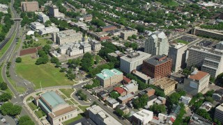 AX82_073 - 5K stock footage aerial video approaching the New Jersey State House in Trenton, New Jersey