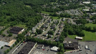 AX82_077 - 5K stock footage aerial video approaching town houses in Trenton, New Jersey
