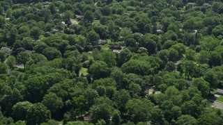 AX82_081 - 5K stock footage aerial video flying by suburban homes partially hidden by trees, Lawrenceville, New Jersey