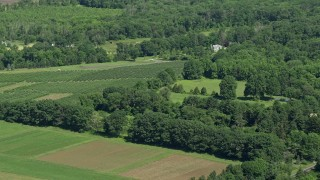 AX82_086 - 5K stock footage aerial video of a crop field in Lawrenceville, New Jersey