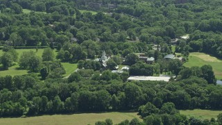 AX82_089 - 5K stock footage aerial video approaching Institute for Advanced Study, Princeton, New Jersey