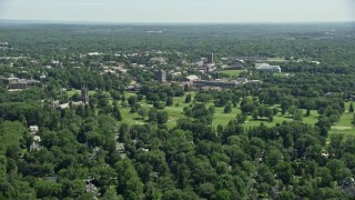 AX82_090 - 5K stock footage aerial video approaching Princeton University buildings, New Jersey