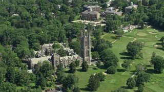 AX82_091 - 5K stock footage aerial video of Princeton Graduate College at Princeton University, New Jersey