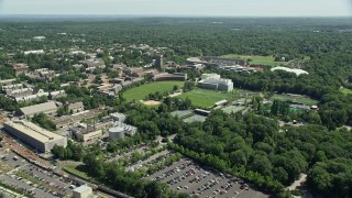 AX82_092 - 5K stock footage aerial video of Roberts Stadium and sports fields on the Princeton University campus, New Jersey