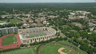 AX82_094 - 5K stock footage aerial video of Weaver Stadium, Princeton University Stadium, and campus buildings, New Jersey