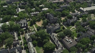 AX82_098 - 5K stock footage aerial video of a reverse view of Mathey College and Princeton University campus, New Jersey