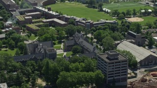AX82_099 - 5K stock footage aerial video of Whitman College at Princeton University, New Jersey