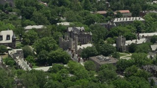AX83_017 - 5K stock footage aerial video of Mathey College at Princeton University, New Jersey