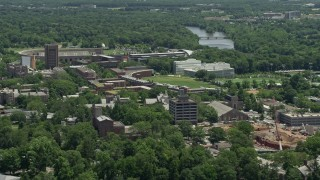 AX83_018 - 5K stock footage aerial video of Poe Field and Roberts Stadium at Princeton University, New Jersey
