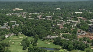 AX83_020 - 5K stock footage aerial video flying by the campus of Princeton University, New Jersey