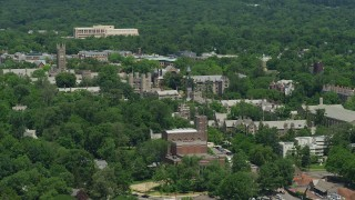 AX83_021 - 5K stock footage aerial video of campus buildings at Princeton University, New Jersey