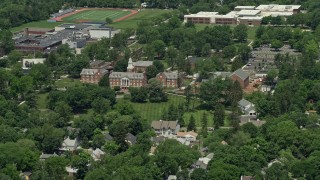 AX83_029 - 5K stock footage aerial video of Westminster Choir College in Princeton, New Jersey