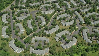 AX83_046 - 5K stock footage aerial video of a bird's eye view of apartment buildings in Somerset, New Jersey