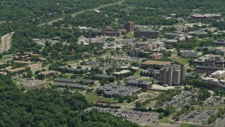 AX83_049 - 5K stock footage aerial video flying by the Rutgers University campus, New Jersey