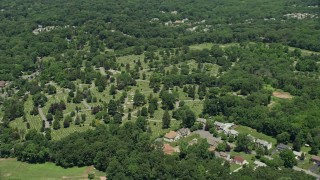 AX83_058 - 5K stock footage aerial video flying by Hillside Cemetery in Edison, New Jersey