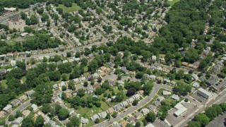 AX83_073 - 5K stock footage aerial video flying over suburban homes in Union, New Jersey
