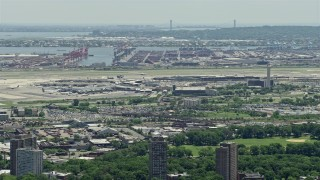 AX83_076 - 5K stock footage aerial video of Newark Liberty International Airport and Port Newark, New Jersey