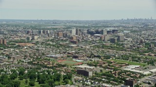 AX83_077 - 5K stock footage aerial video approaching the Downtown Newark cityscape, New Jersey