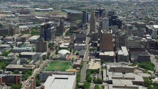 AX83_080 - 5K stock footage aerial video of Downtown Newark skyscrapers and high-rise buildings, New Jersey