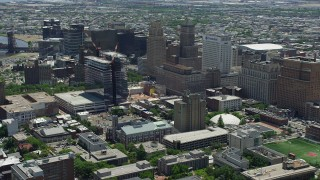 AX83_081 - 5K stock footage aerial video of Downtown Newark high-rises and building under construction, New Jersey