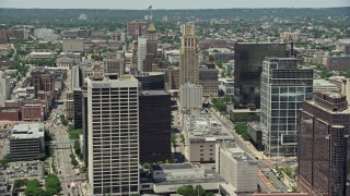 AX83_085 - 5K stock footage aerial video of Downtown Newark towers and high-rises, New Jersey