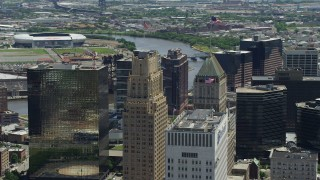 AX83_090 - 5K stock footage aerial video flying by Downtown Newark's tallest high-rises in New Jersey