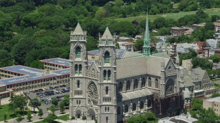 AX83_092 - 5K stock footage aerial video flying by the Cathedral Basilica of the Sacred Heart, Newark, New Jersey