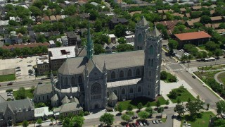 AX83_095 - 5K stock footage aerial video orbiting the Cathedral Basilica of the Sacred Heart, Newark, New Jersey