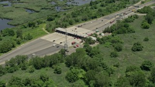 AX83_100 - 5K stock footage aerial video of a toll booth on Interstate 280 in Kearny, New Jersey