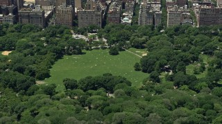 AX83_133 - 5K stock footage aerial video of Sheep Meadow in Central Park, New York City