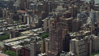 AX83_136 - 5K stock footage aerial video of Park Belvedere condominium complex on the Upper West Side, New York City