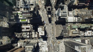 AX83_144 - 5K stock footage aerial video of a bird's eye of Times Square in Midtown Manhattan, New York City