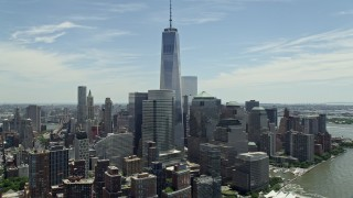 AX83_157E - 5K stock footage aerial video of Freedom Tower and World Trade Center buildings, Lower Manhattan, New York City