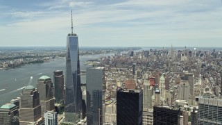 AX83_162 - 5K stock footage aerial video of One World Trade Center and the Hudson River in Lower Manhattan, New York City