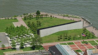 AX83_170 - 5K stock footage aerial video orbiting the Empty Sky Memorial in Liberty State Park, Jersey City, New Jersey
