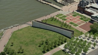 AX83_172 - 5K stock footage aerial video orbiting Empty Sky Memorial in Liberty State Park, Jersey City, New Jersey