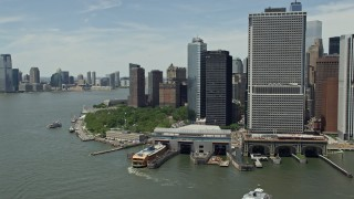 AX83_190 - 5K stock footage aerial video of Lower Manhattan skyscrapers, Battery Park and World Trade Center, New York City