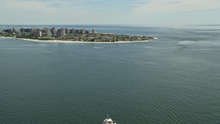 AX83_209 - 5K stock footage aerial video approaching Coney Island, Brooklyn, New York City